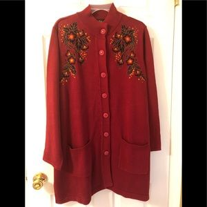 Bob Mackie Burgundy Sweater Cardigan Sz XL NWT